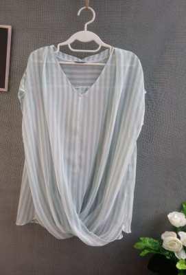 See Through Chiffon Blouse- Blue Striped Brand 'Indivi'