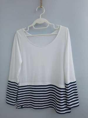 Woman Breton Striped White & Navy Blue Basic Tee