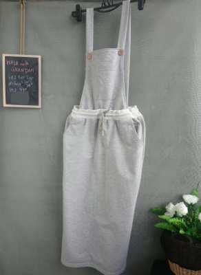 Grey Cotton Bib Skirt, Brand: Walk With Grandam (BKK)