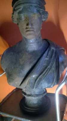 Vintage, Cast iron bust of Athena (life size).