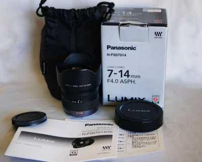 Panasonic Lumix G Vario 7-14mm f/4 ASPH. Lens in Box, Ultra-wide zoom
