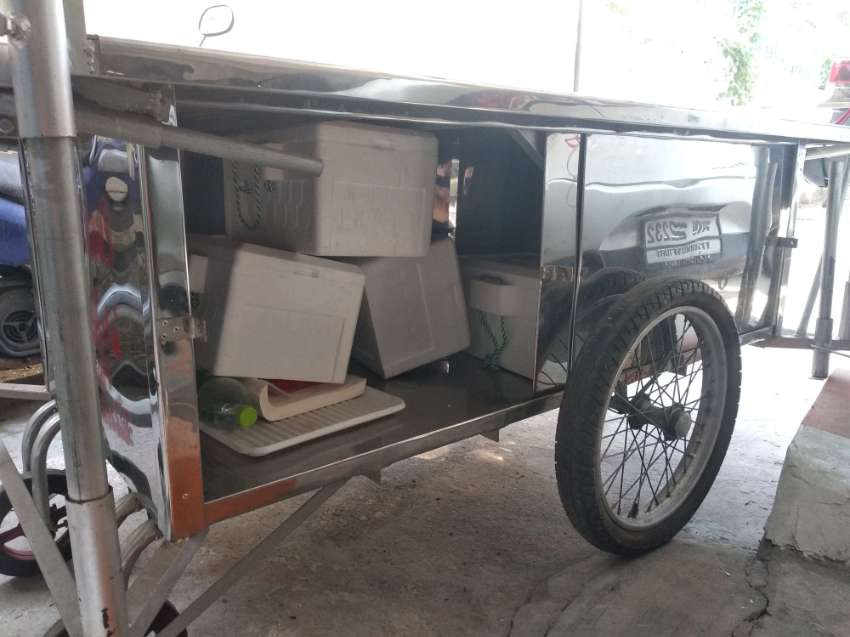 Grocery cart for sale !  80 % stainless steel ! Has electric lamps !