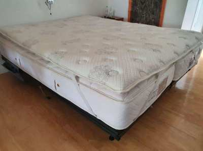 Custom made mattress + bed frame (180x220cm) (1.5 year old)