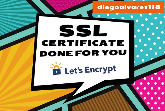 I will create and Install a 90 Days SSL Certificate for your Website