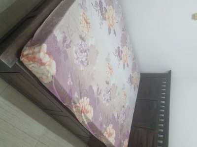 Pure Sheesham Full length Queen Bed with mattress and end tables