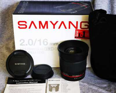 Samyang for Canon EOS 16mm f2 F2.0 ED AS  Ultra Wide Angle Lens in Box