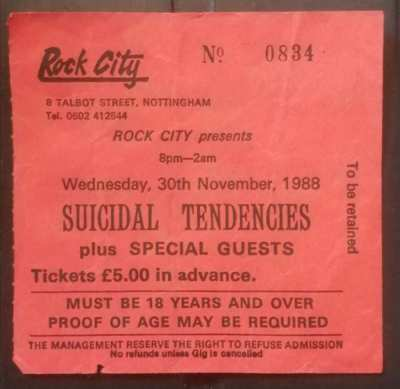 Suicidal Tendencies live in England 30th November 1988 ticket concert