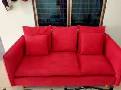 Red Velour 3-seater Sofa