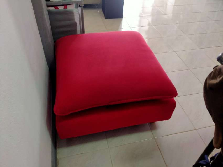 Red Velour 3-seater Sofa.... REDUCED.