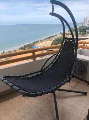 HANGING CURVED CHAISE LOUNGE SWING CHAIR FOR BACKYARD OR BALCONY