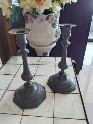 2 old pewter candlesticks