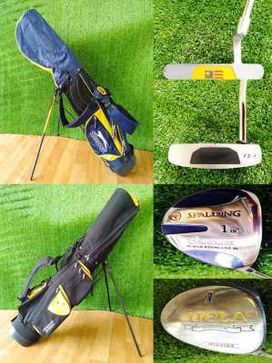 Junior golf clubs and stand bags