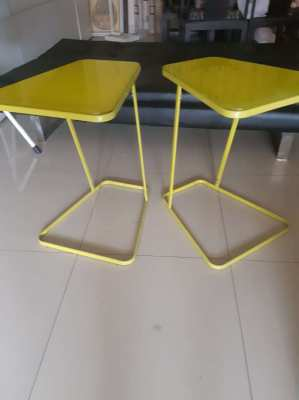A PAIR COLONY SIDE TABLE PAINTED GLASS (APPLE GREEN).