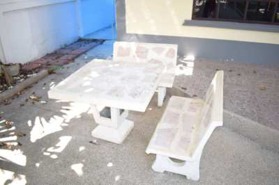 Outdoor Concrete Table & Seats Set - Used