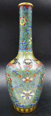 Chinese Superb Lotus Vases Cloisonne Enamel & Gilt Ormolu Bronze
