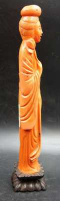 Chinese Quan Yin Deity Large Hand Carved Red Coral Sculpture