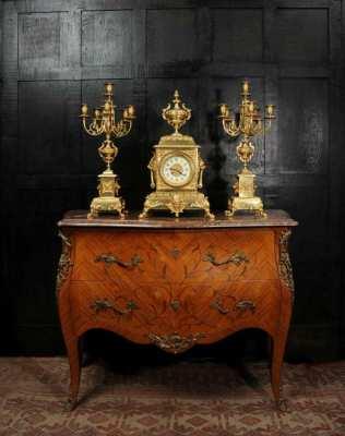 Huge Antique French Gilt Bronze Classical Clock Set