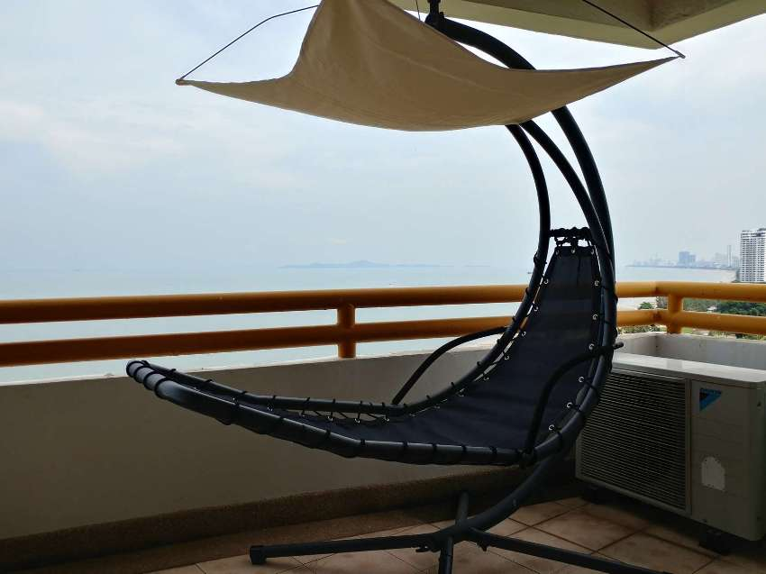 Outdoor Hanging Curved Chaise Lounge Swing Chair with Removable Canopy