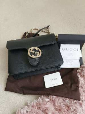 Genuine black Gucci cross body bag marmont gold hardware