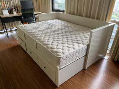 Queen size bed with spring mattress