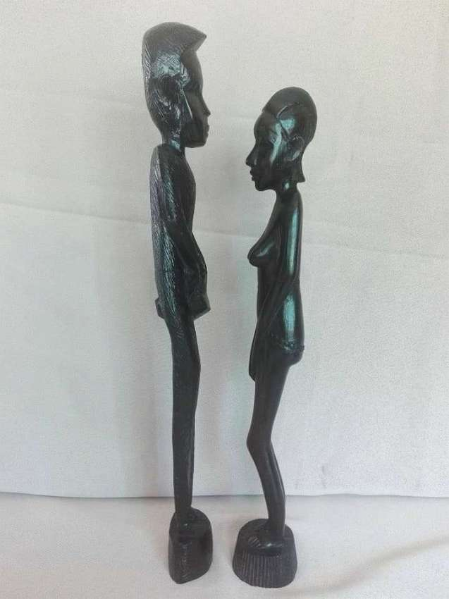 Vintage Somali Wooden Carved Man With Woman