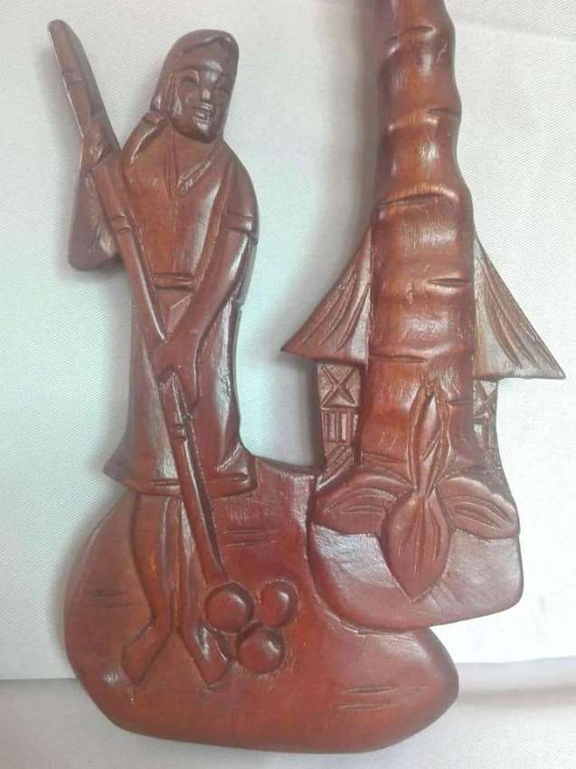 Vintage Wooden Carved Woman With Palm
