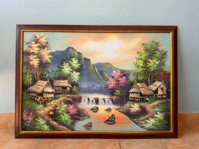 Thai style painting, hand painted 58cm x82cm Wooden frame
