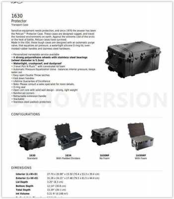 1630 Pelican ABS waterproof Travel-equipment case