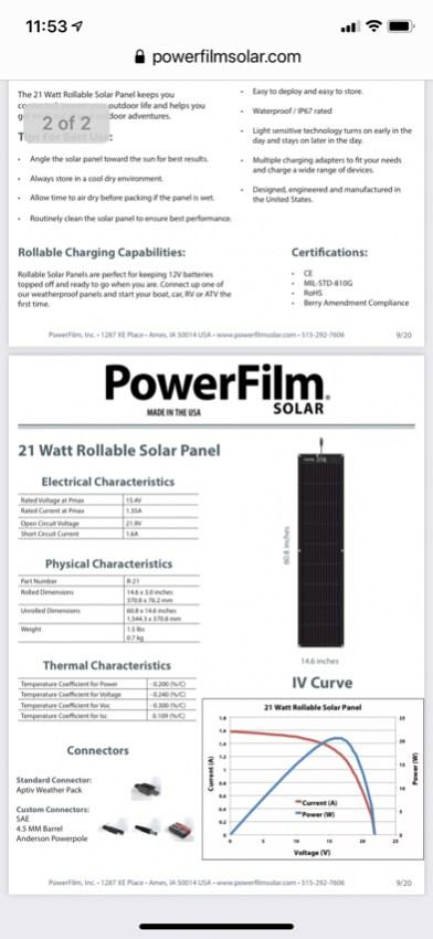 PowerFilm Solar Panel & Mastervolt Chargemaster