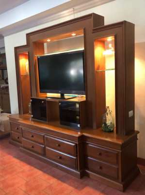 Television cabinet, Wooden cabinet Teak Wood, with lights