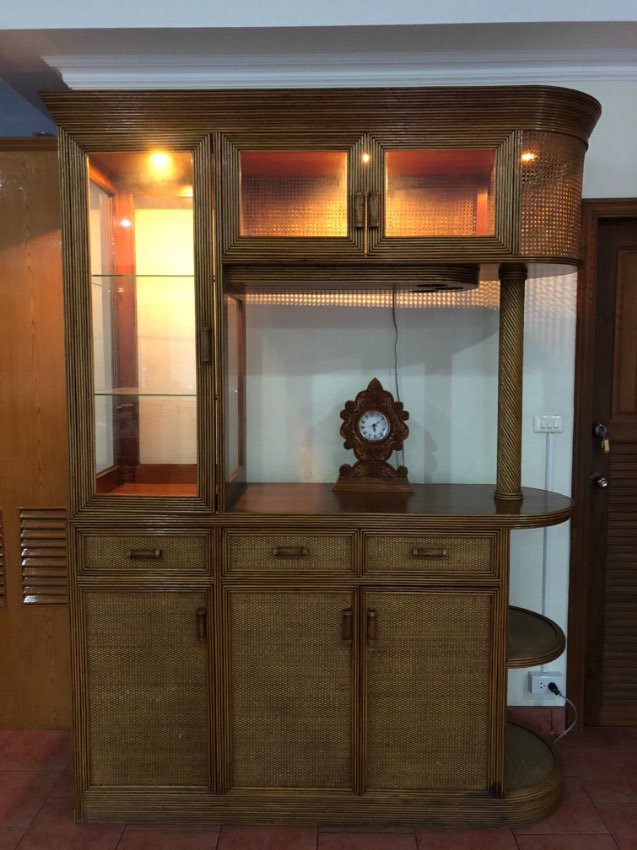 Separation cabinet Rattan, Glass Cabinet with lights