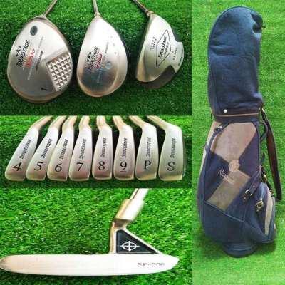 Full set of Bridgestone golf clubs in bag, FREE shipping.