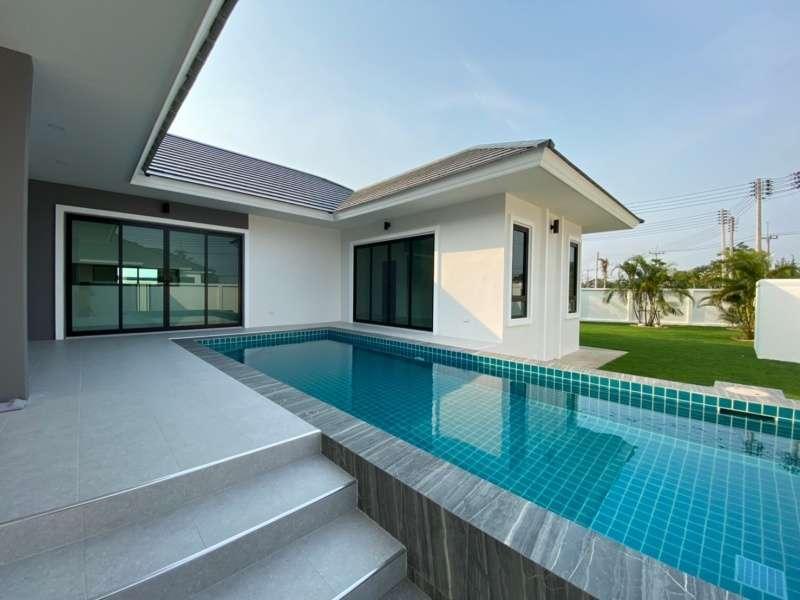 New Quality Built Unfurnished 3 BR 3 Bath Pool Villa on Corner Plot