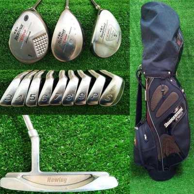 Full set of Bridgestone Jumbo golf clubs in bag.