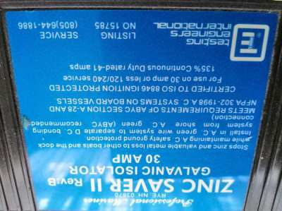 ZINC SAVER / GALVANIC ISOLATOR 30A