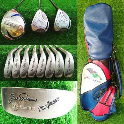 Jack Nicklaus set of golf clubs in Masters bag