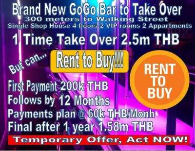 Pattaya City Brand New GoGo Bar Rent to Buy