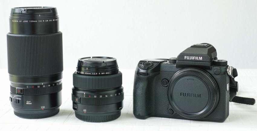 Fujifilm GFX 50S body with a GF 63 mm F 2.8 and a GF 120 mm F 4 lens.