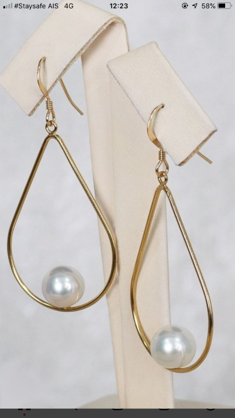 Earing with south sea pearl and silver gold 14 plate 2,900