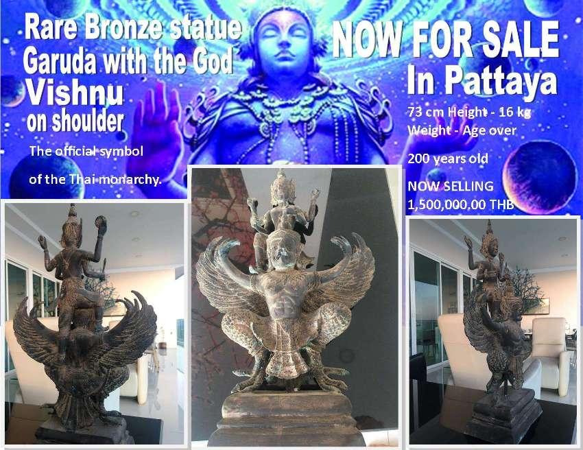 Statue Garuda with God Vishnu on Shoulder