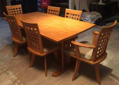Elega Dinner Table with 6 swivel chairs