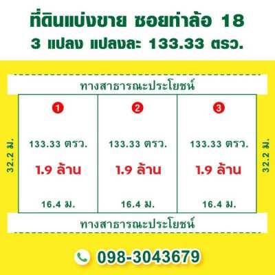 ขายยกแปลง หรือ แบ่งขาย ซ.ท่าล้อ 18 ตรว.ละ 14,250 บาท  แปลงละ 133.33 ตร