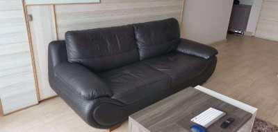 Genuine Leather Sofa (Black)