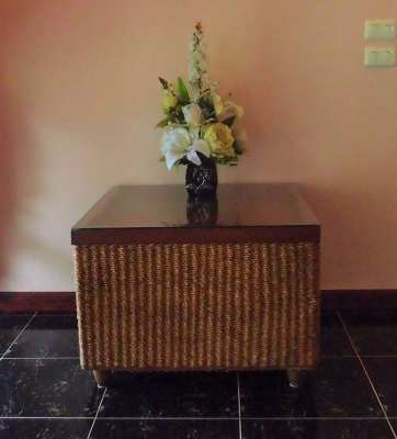 Wicker Occasional Table with Glass Top