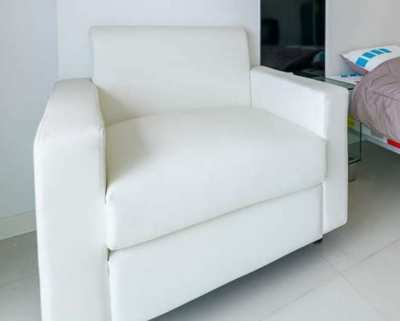 White faux PVC leather chair for sale