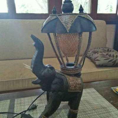 Table lamp wooden elephant 47cm