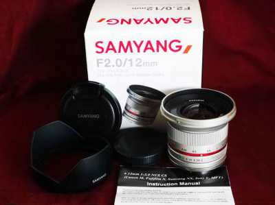 Samyang for Sony 12mm f2 F2.0 Silver Ultra Wide Angle Lens in Box