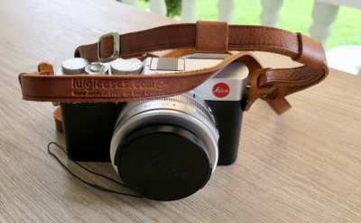 New Tan Leather Adjustable Camera Strap by Luigi of Italy
