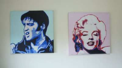 Oil Paintings on Canvas for sale of Elvis Presley and Marilyn Monroe.