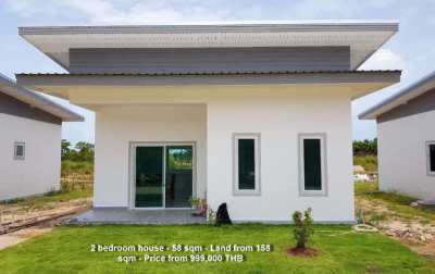 999,000 THB for these 2 bedroom houses close to the beach in Rayong